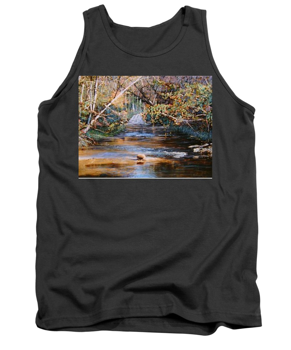 River; Waterfalls Tank Top featuring the painting My Secret Place by Ben Kiger