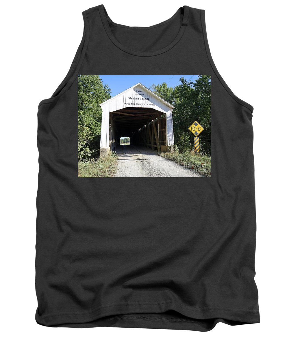 Nevins Tank Top featuring the photograph Nevins Covered Bridge Indiana by Steve Gass
