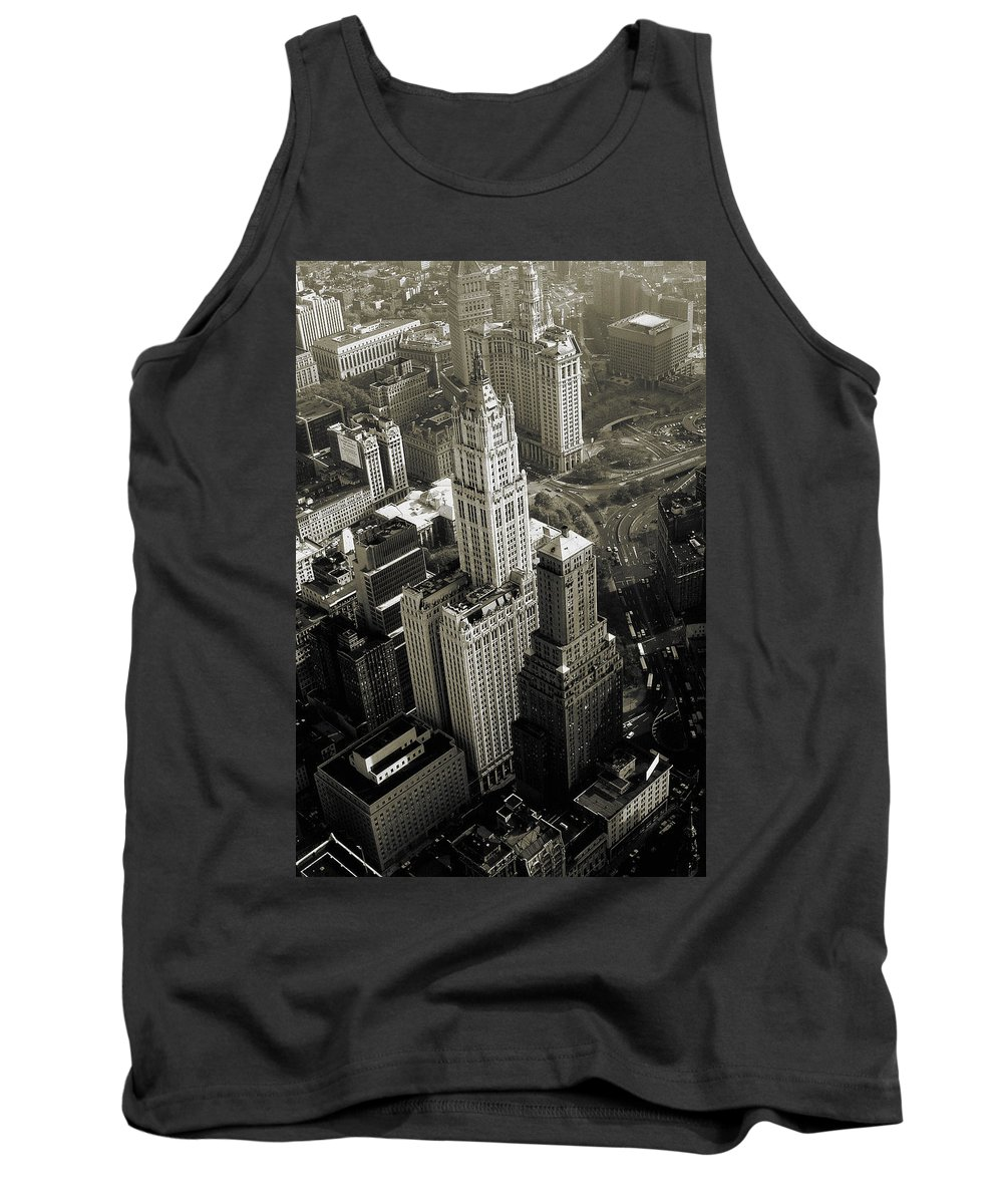 Woolworth+building Tank Top featuring the photograph New York Woolworth Building - Vintage Photo Art Print by Peter Potter