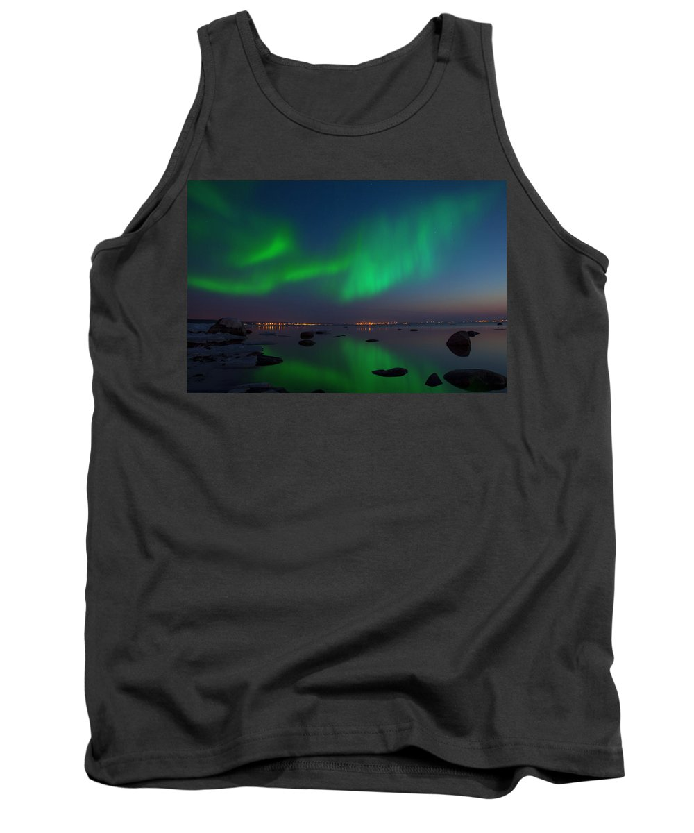 Astronomy Tank Top featuring the photograph Northern Lights Aurora Borealis In Northern Europe by Sandra Rugina