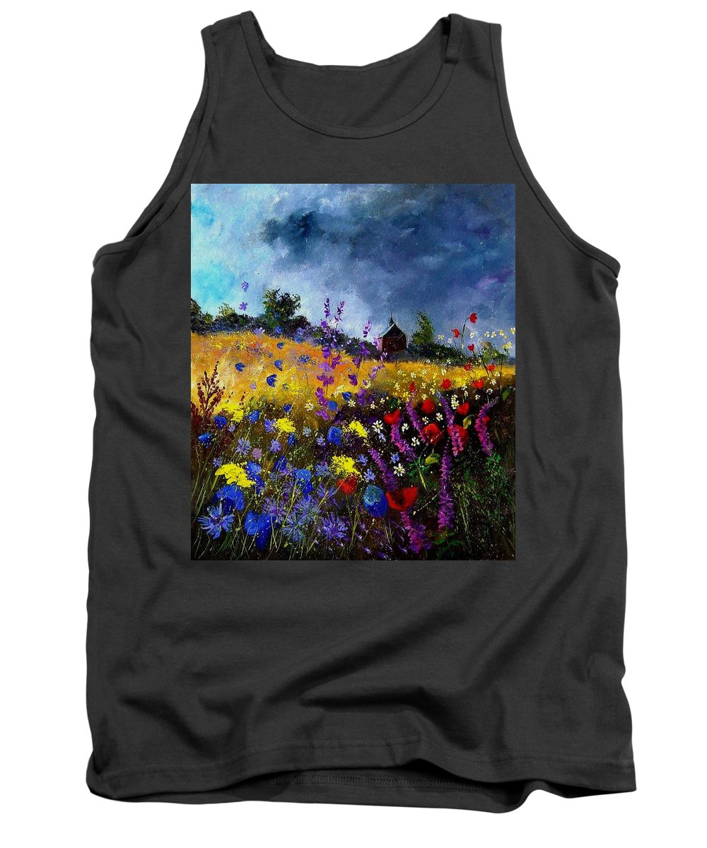 Flowers Tank Top featuring the painting Old Chapel And Flowers by Pol Ledent