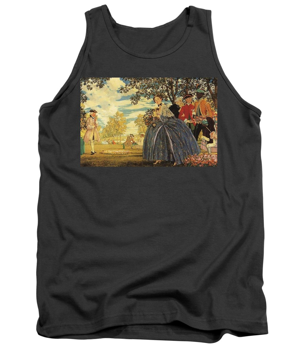 Groom Tank Top featuring the digital art porcelain figurines on a stone shelf 1930 Konstantin Andreevich 1869-1939 Somov by Eloisa Mannion