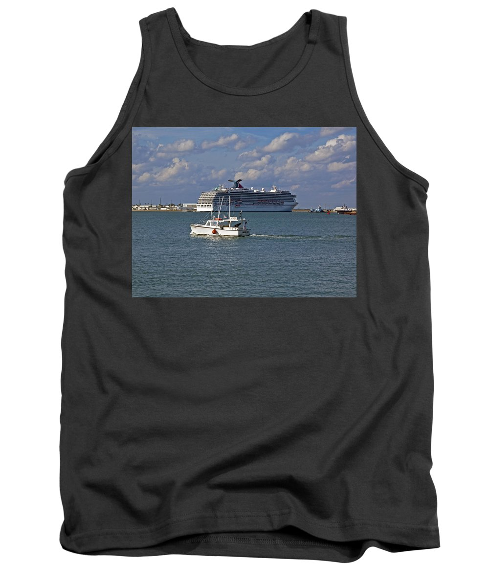 Port Tank Top featuring the photograph Port Canaveral In Florida by Allan Hughes