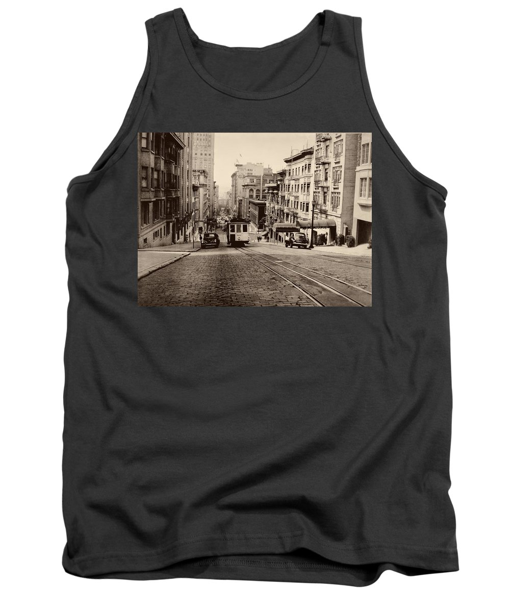 Cityscape Tank Top featuring the photograph Powell Street Hill - San Francisco 1945 by Mountain Dreams