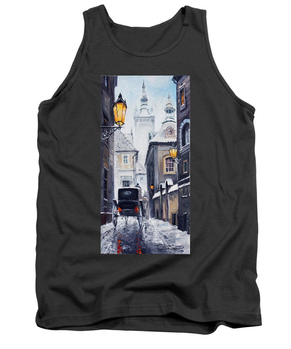 Oil Tank Top featuring the painting Prague Old Street 02 by Yuriy Shevchuk