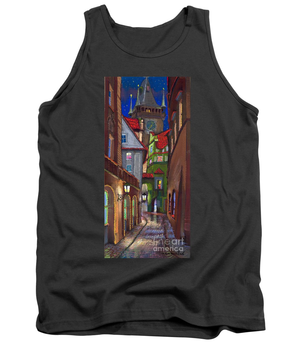Pastel Tank Top featuring the painting Prague Old Street by Yuriy Shevchuk