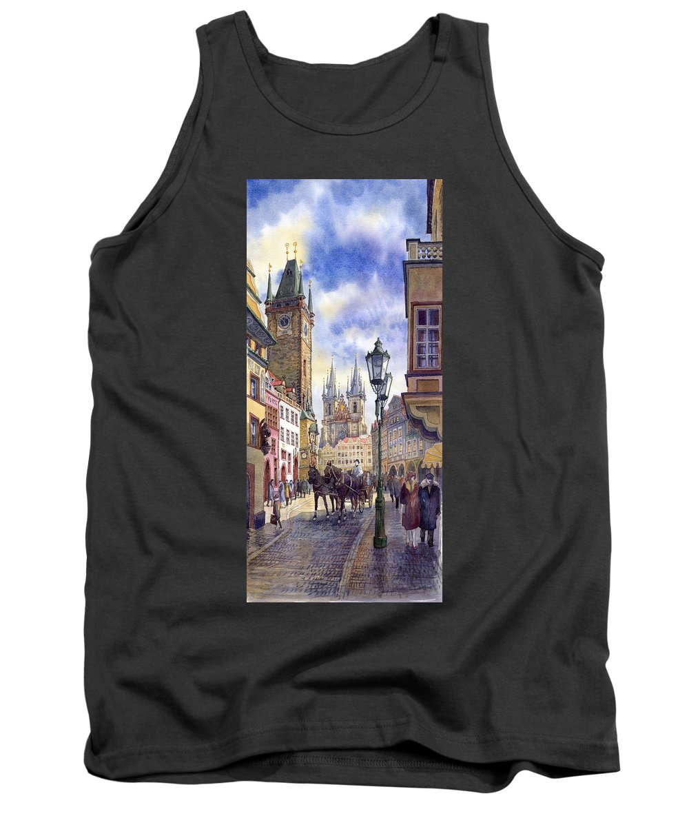 Watercolour Tank Top featuring the painting Prague Old Town Square 01 by Yuriy Shevchuk