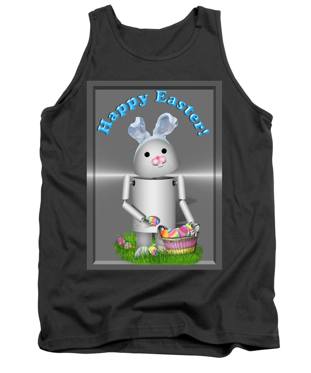 Gravityx9 Tank Top featuring the mixed media Robo-x9 The Easter Bunny by Gravityx9 Designs