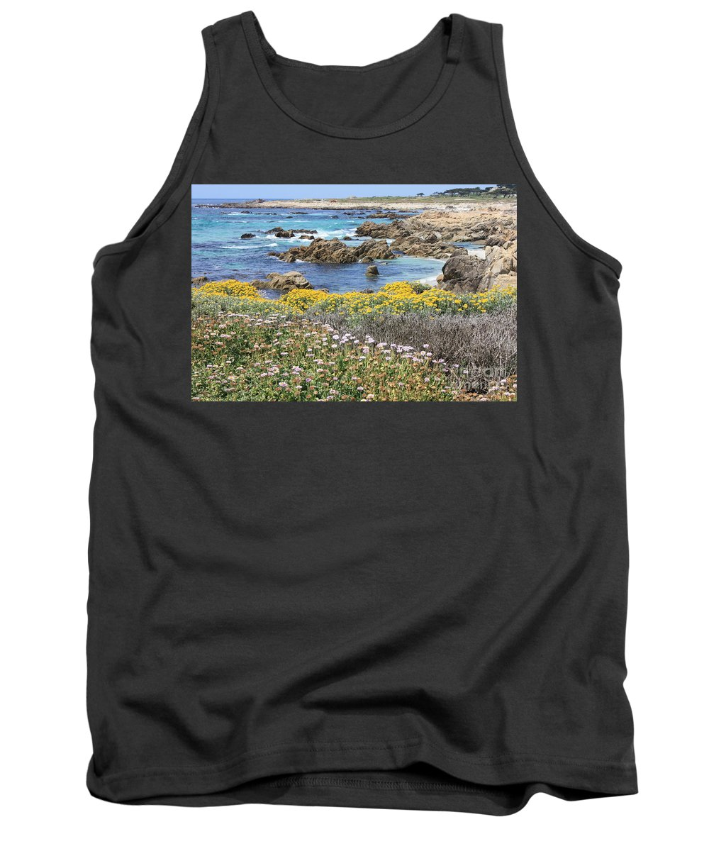 California Tank Top featuring the photograph Rocky Surf With Wildflowers by Carol Groenen