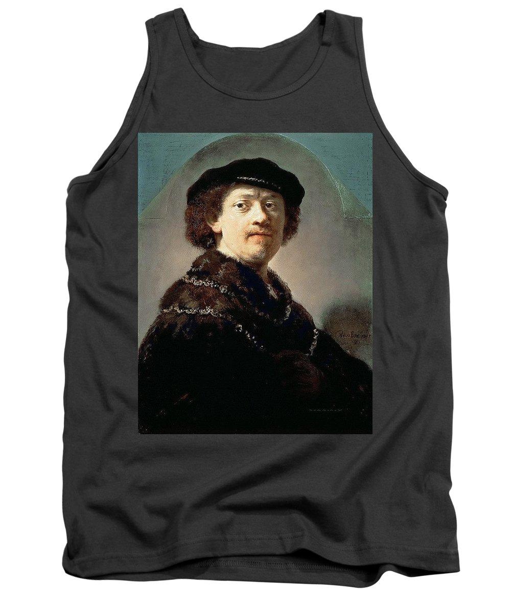 Armor Tank Top featuring the digital art Self-portrait Rembrandt Harmenszoon Van Rijn by Eloisa Mannion