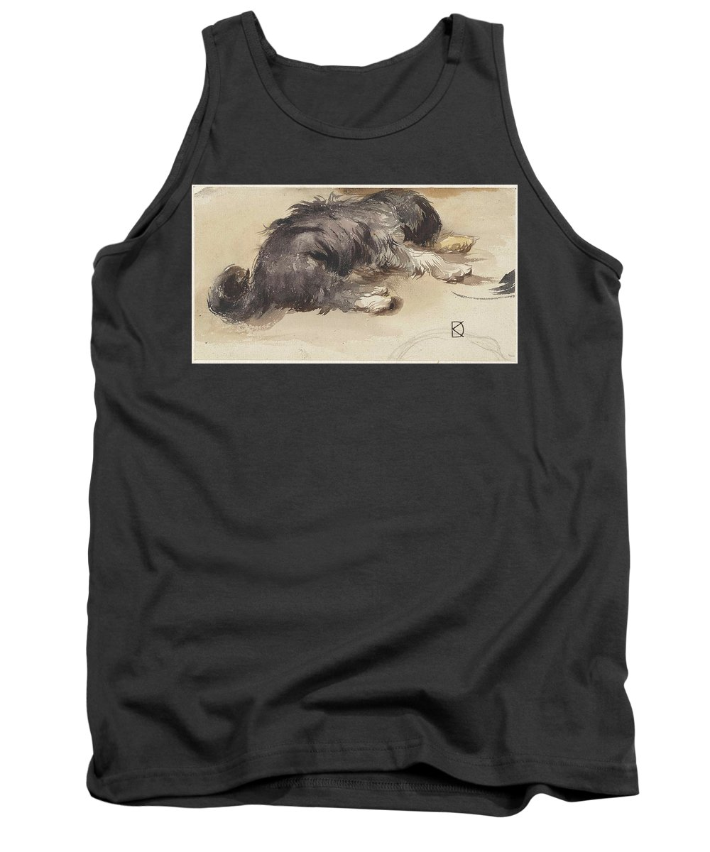 Slapende Hond Tank Top featuring the painting Slapende Hond by MotionAge Designs