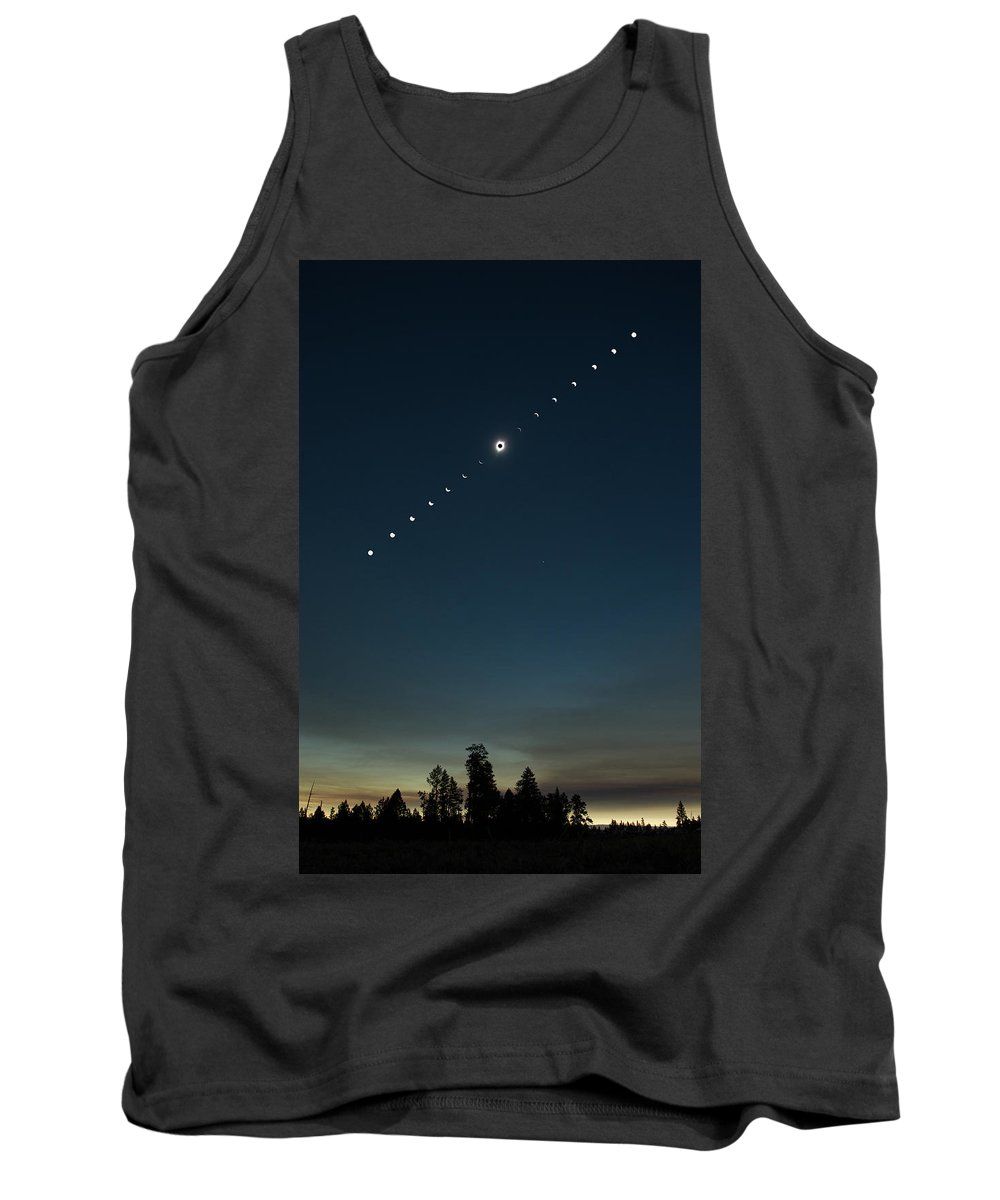 Solar Eclipse Tank Top featuring the photograph Solar Eclipse Landscape by Max Waugh