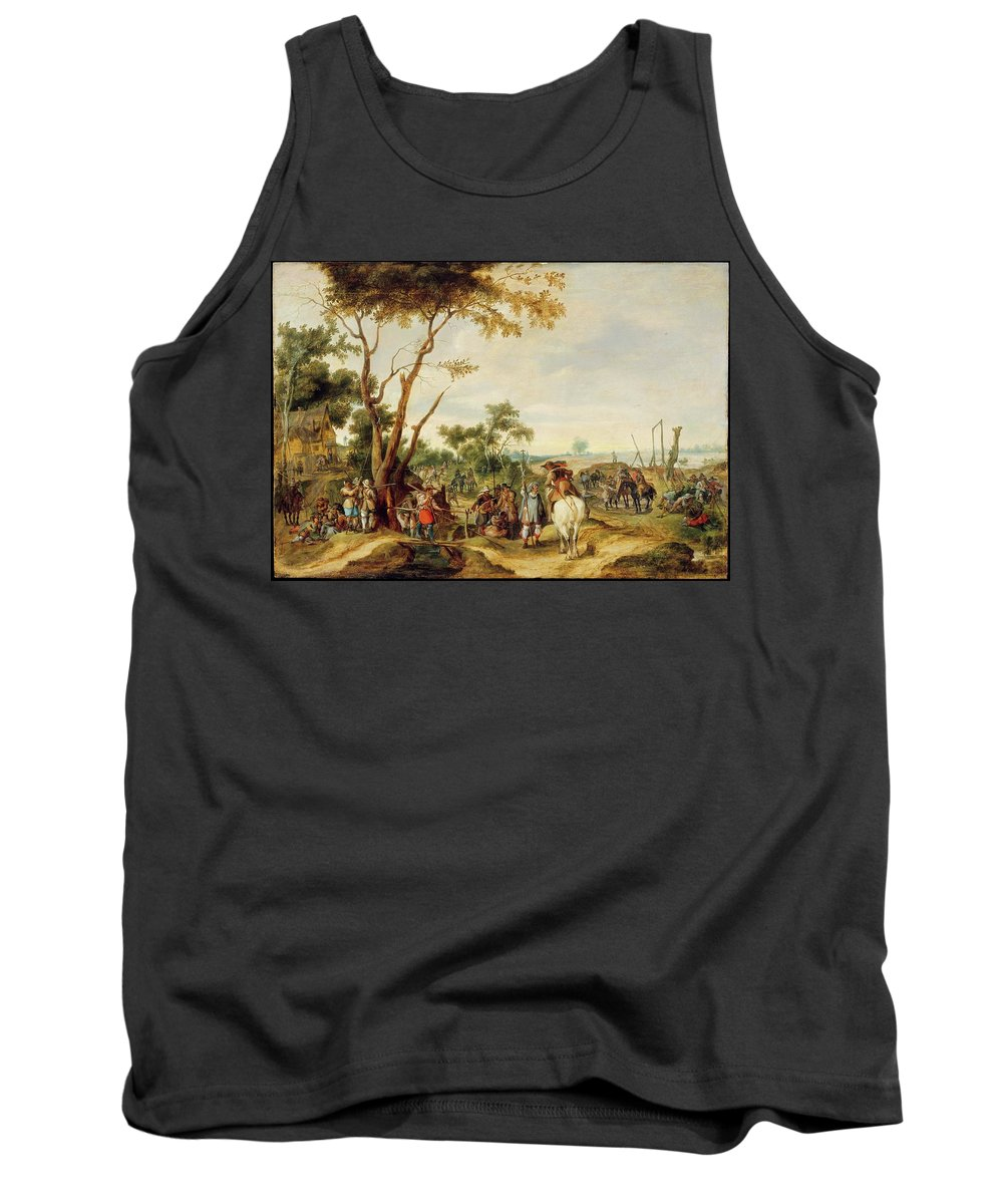 Pieter Snayers Soldiers Bivouacking Tank Top featuring the painting Soldiers Bivouacking by Pieter Snayers