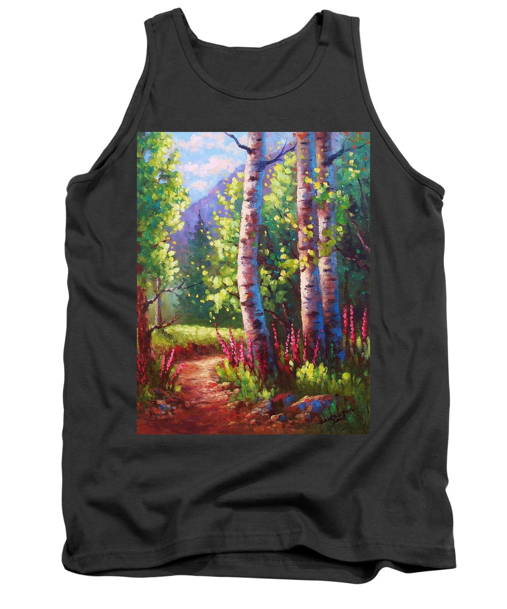 Aspen Tank Top featuring the painting Spring Path by David G Paul