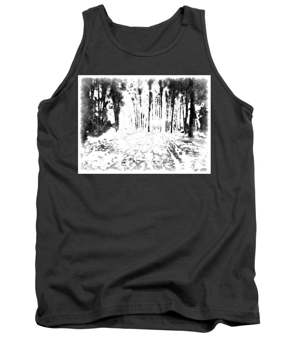 Sumi-e Paint Style Tank Top featuring the digital art Sumie Landscape by Mario Carini