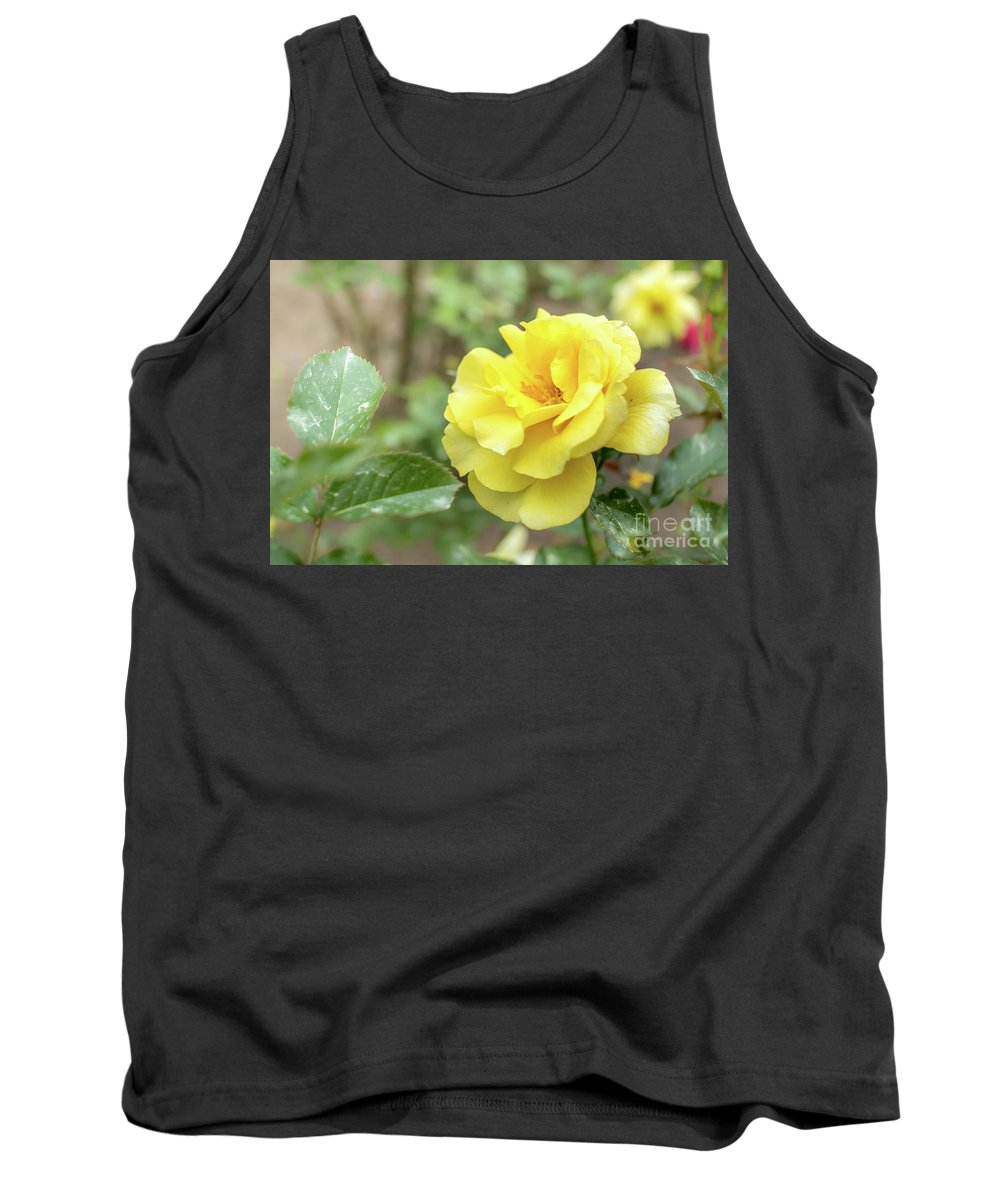 1981 Tank Top featuring the photograph Sun Flare Floribunda Rose, Yellow Rose Originally Produced By T by Eiko Tsuchiya