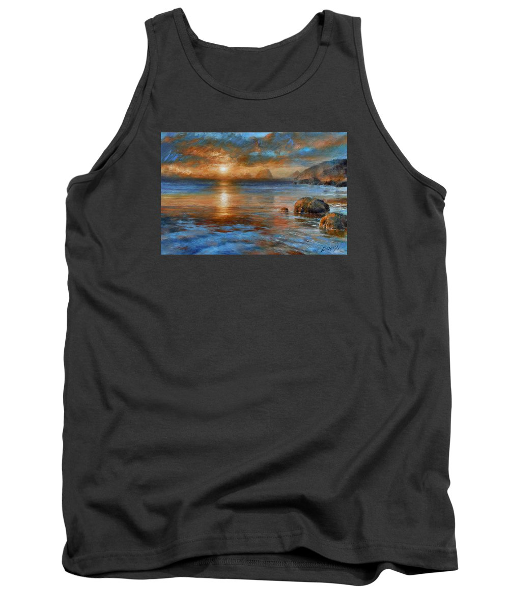 Landscape Tank Top featuring the painting Sunset by Arthur Braginsky