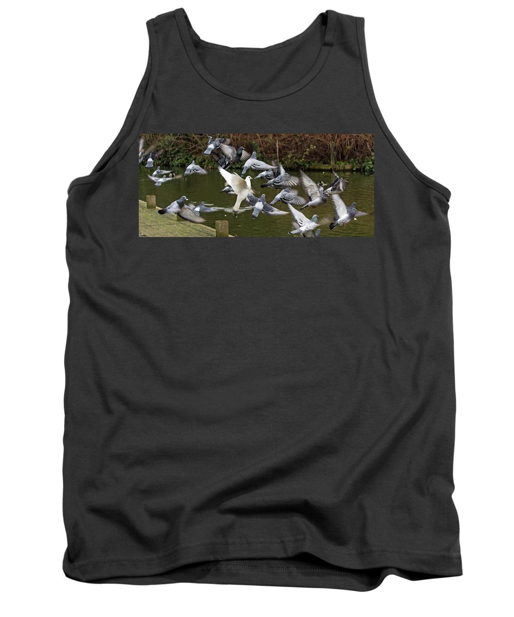 Pigeons Tank Top featuring the photograph Take Off by Jeff Townsend