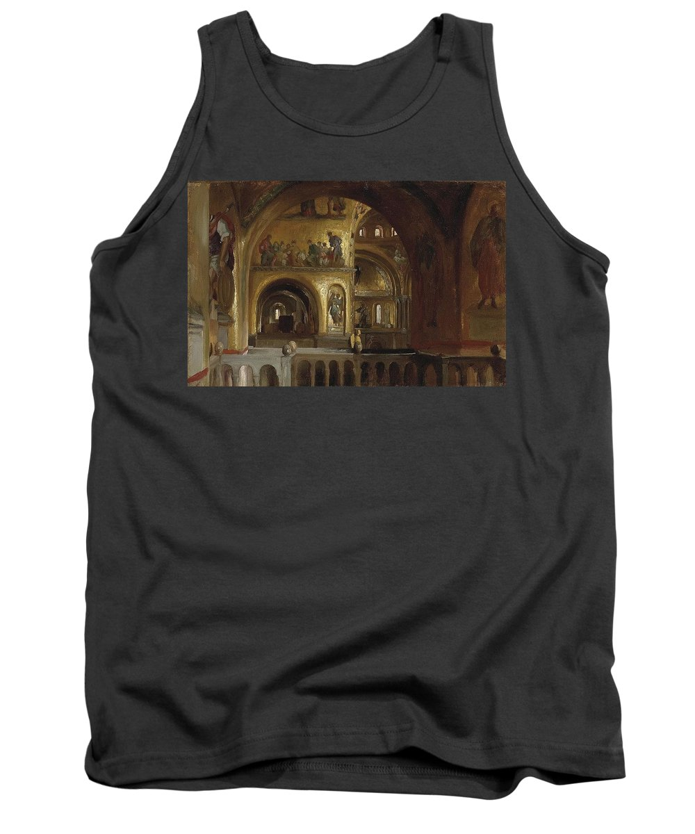 Architecture Tank Top featuring the digital art The Interior Of St Marks Basilica Venice Frederick Leighton by Eloisa Mannion