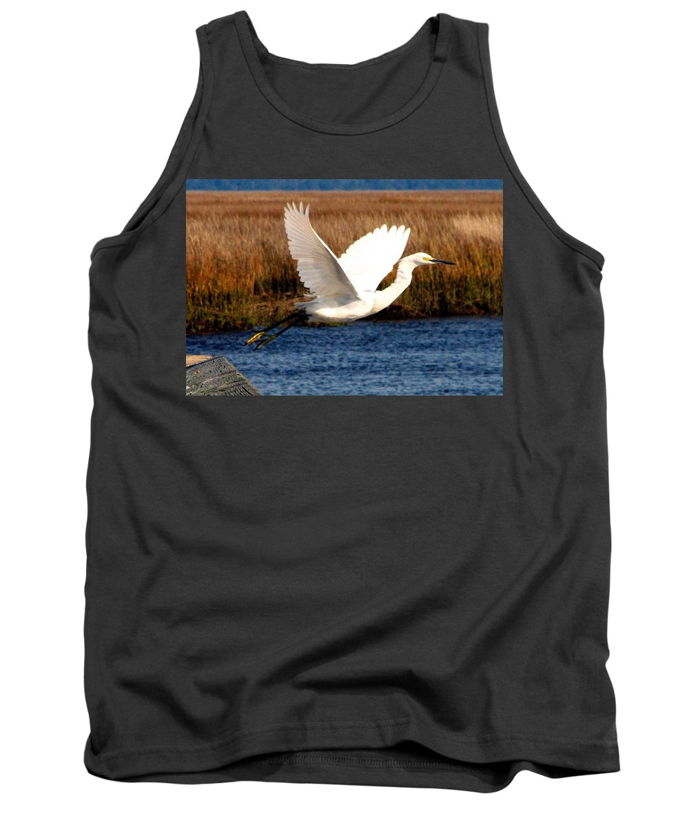 Egret Tank Top featuring the photograph The Takeoff by J M Farris Photography