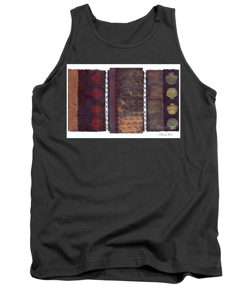 3panel Tank Top featuring the painting Three Panel Transitional Page Format by Kerryn Madsen- Pietsch