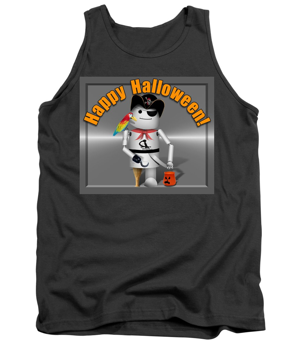 Tank Top featuring the mixed media Trick Or Treat Time For Robo-x9 by Gravityx9 Designs