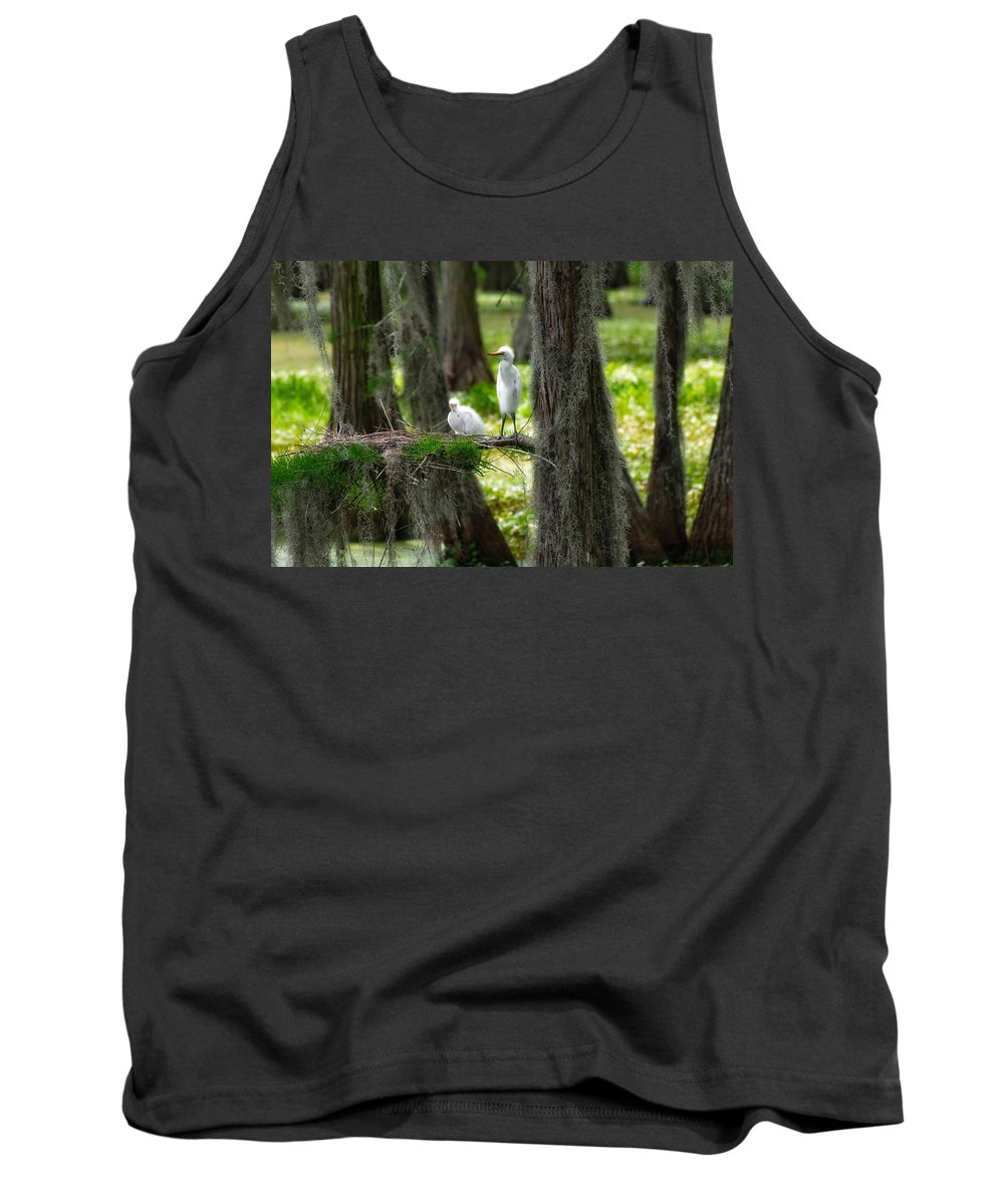 Bird Tank Top featuring the photograph Two Baby Great Egrets And Nest by Rich Leighton