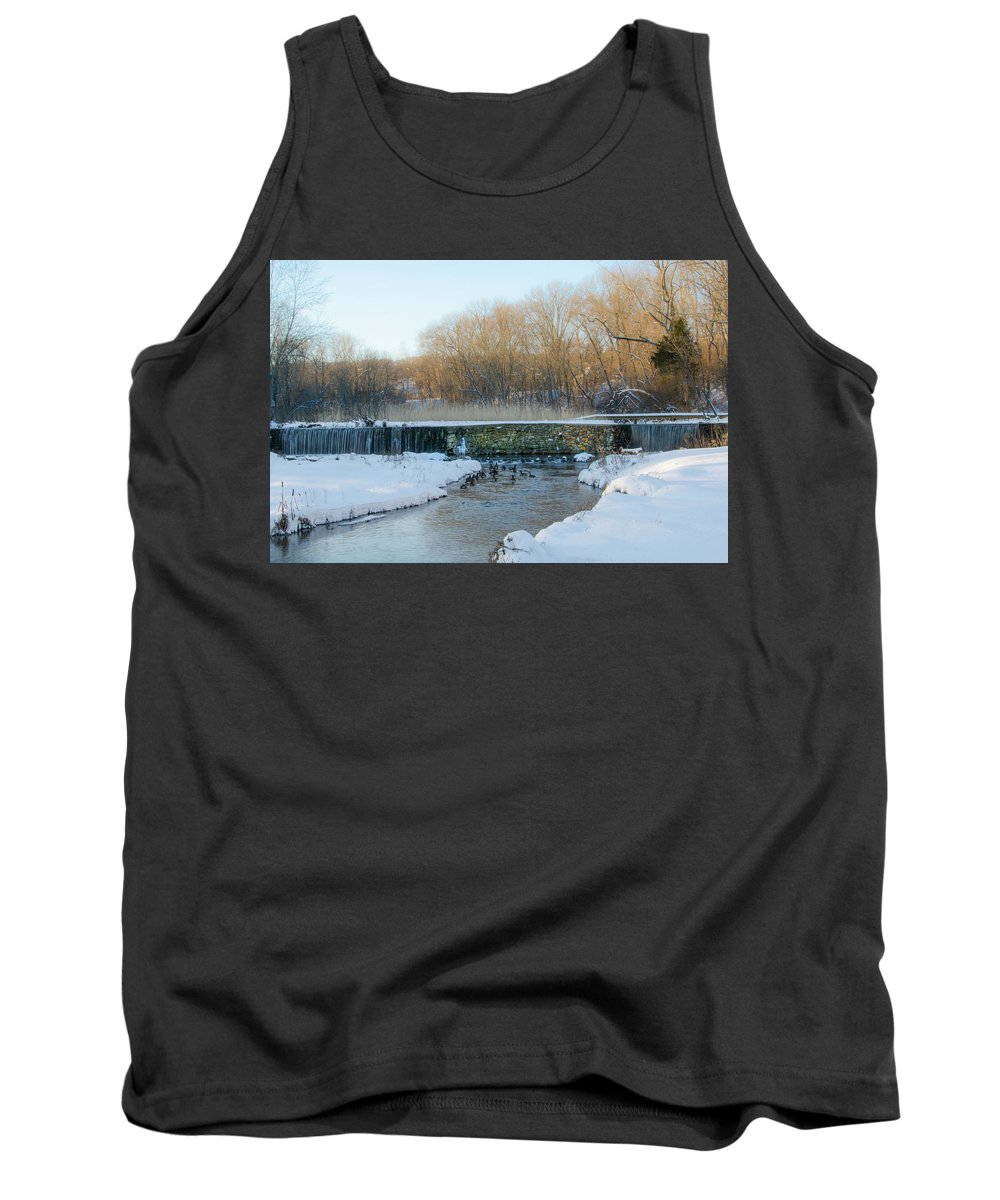 Valley Tank Top featuring the photograph Valley Creek Waterfall In Winter by Bill Cannon