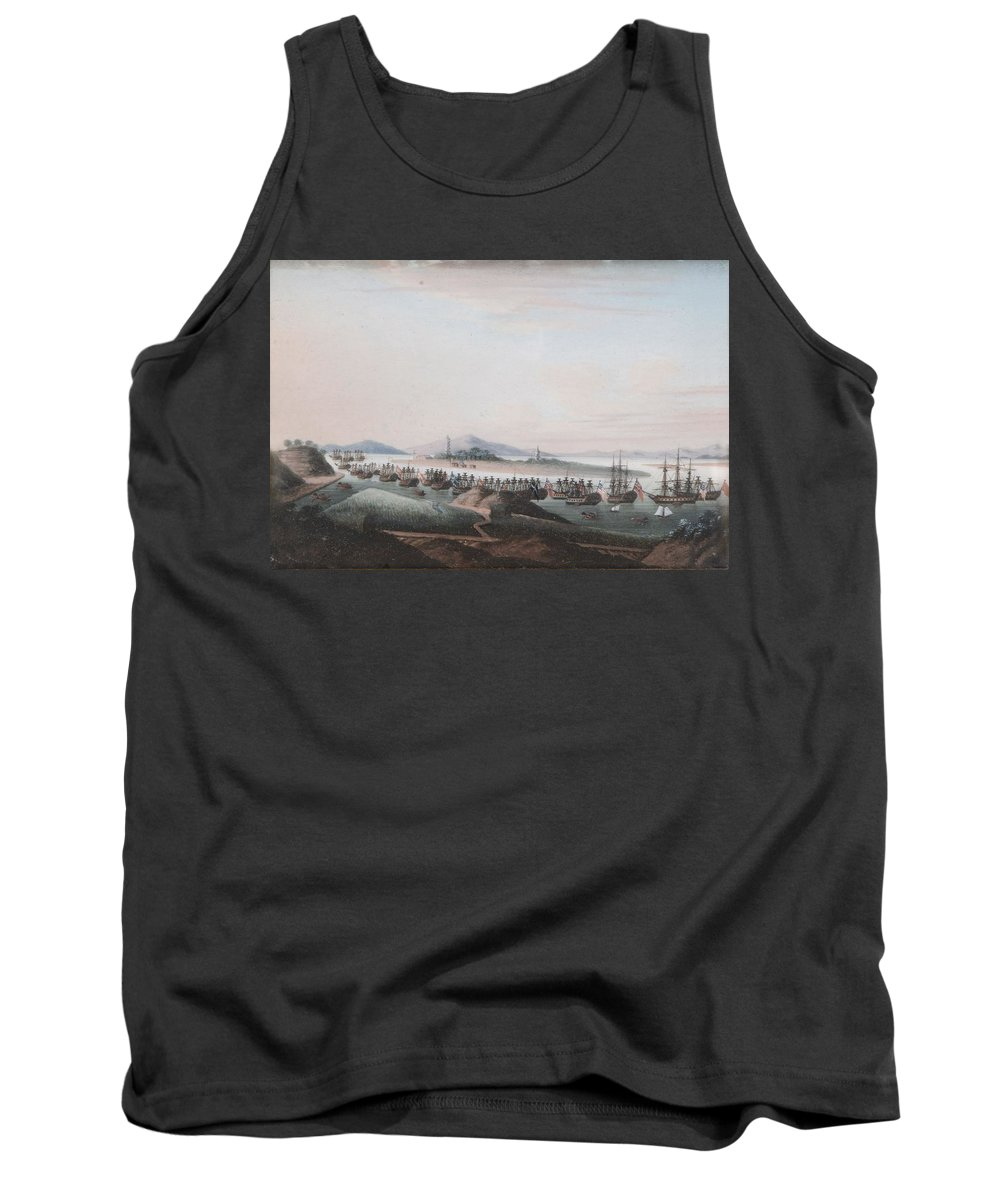 Anglo-chinese School (19th Century) View Of The Thirteen Factories Tank Top featuring the painting View Of The Thirteen Factories by MotionAge Designs