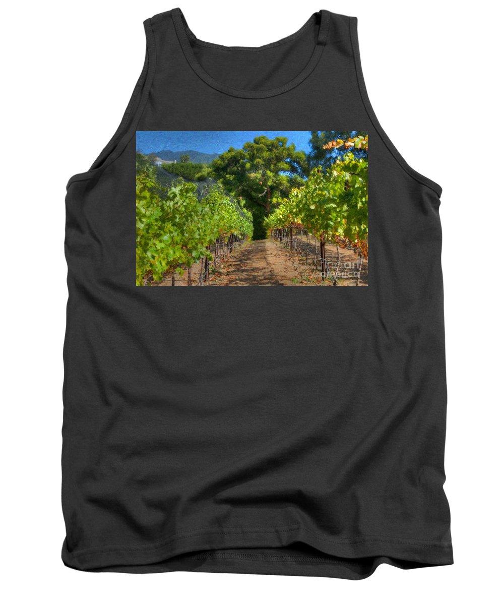 Vineyard Tank Top featuring the photograph Vineyard Sauvignon Blanc Grapes by David Zanzinger