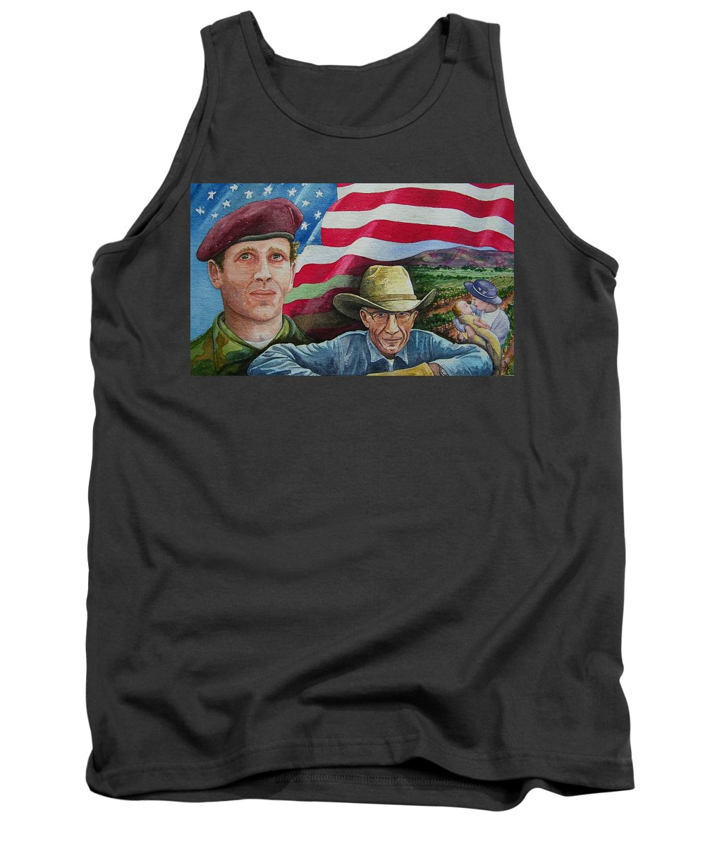 Soldier Tank Top featuring the painting We Hold These Truths by Gale Cochran-Smith