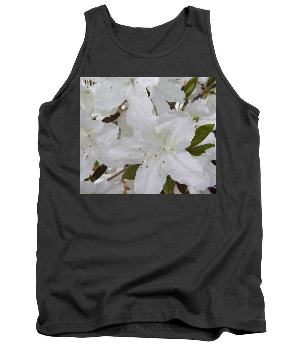 White Azalea Tank Top featuring the photograph White Azalea by Larry Lacy