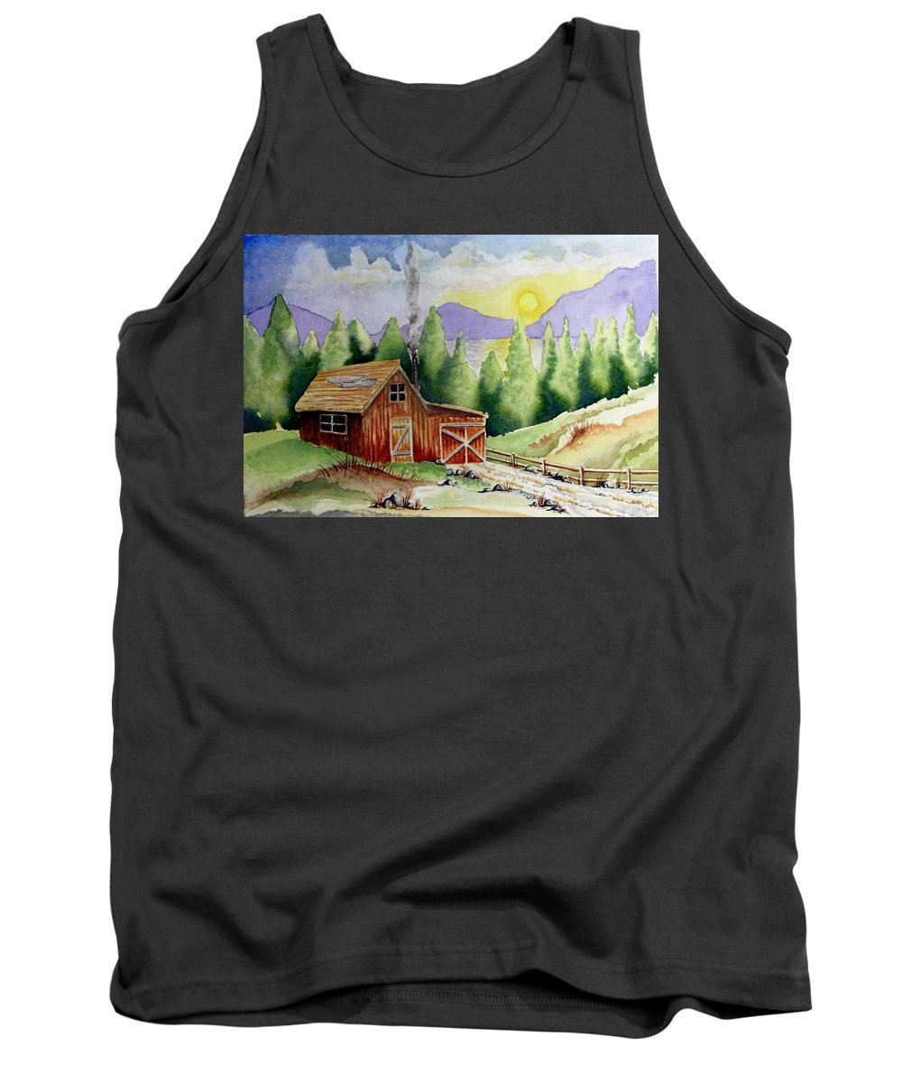 Cabin Tank Top featuring the painting Wilderness Cabin by Jimmy Smith