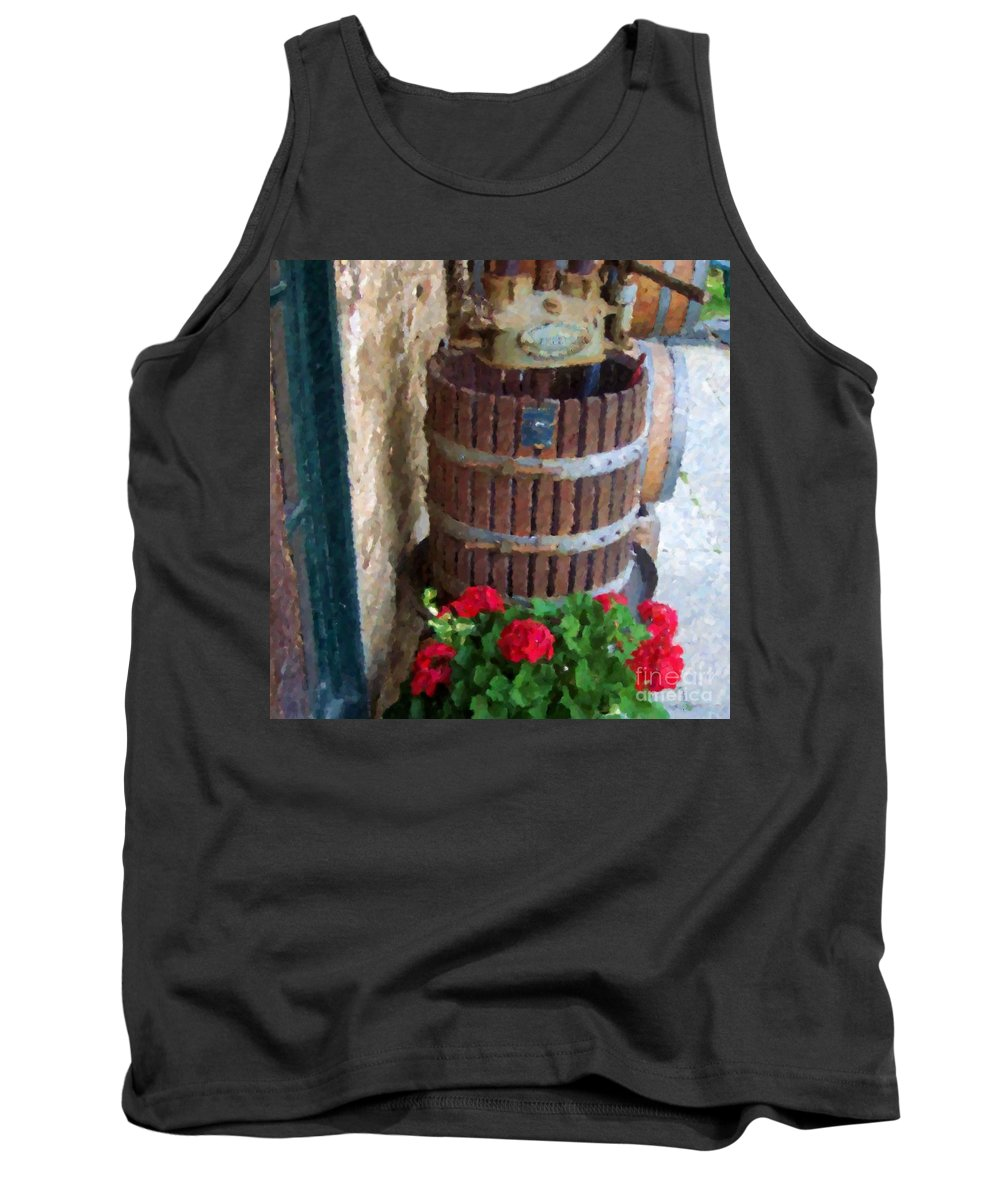 Geraniums Tank Top featuring the photograph Wine And Geraniums by Debbi Granruth