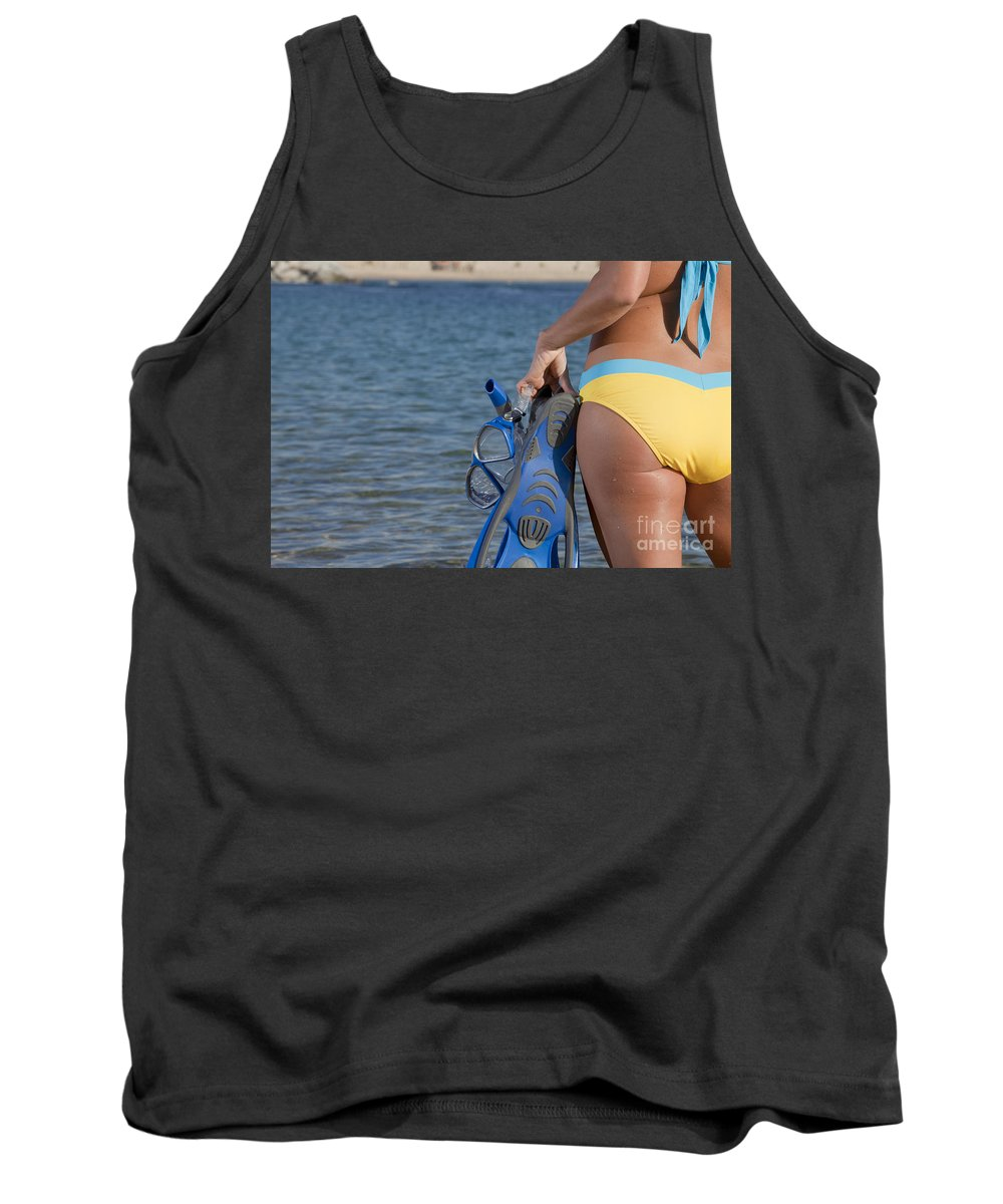 Snorkeling Tank Top featuring the photograph Woman Getting Ready To Go Snorkeling by Anthony Totah