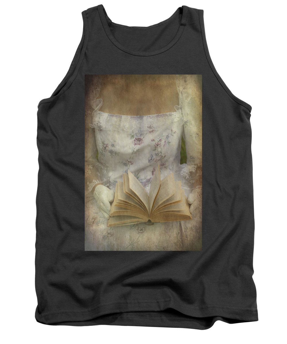Female Tank Top featuring the photograph Woman With A Book by Joana Kruse