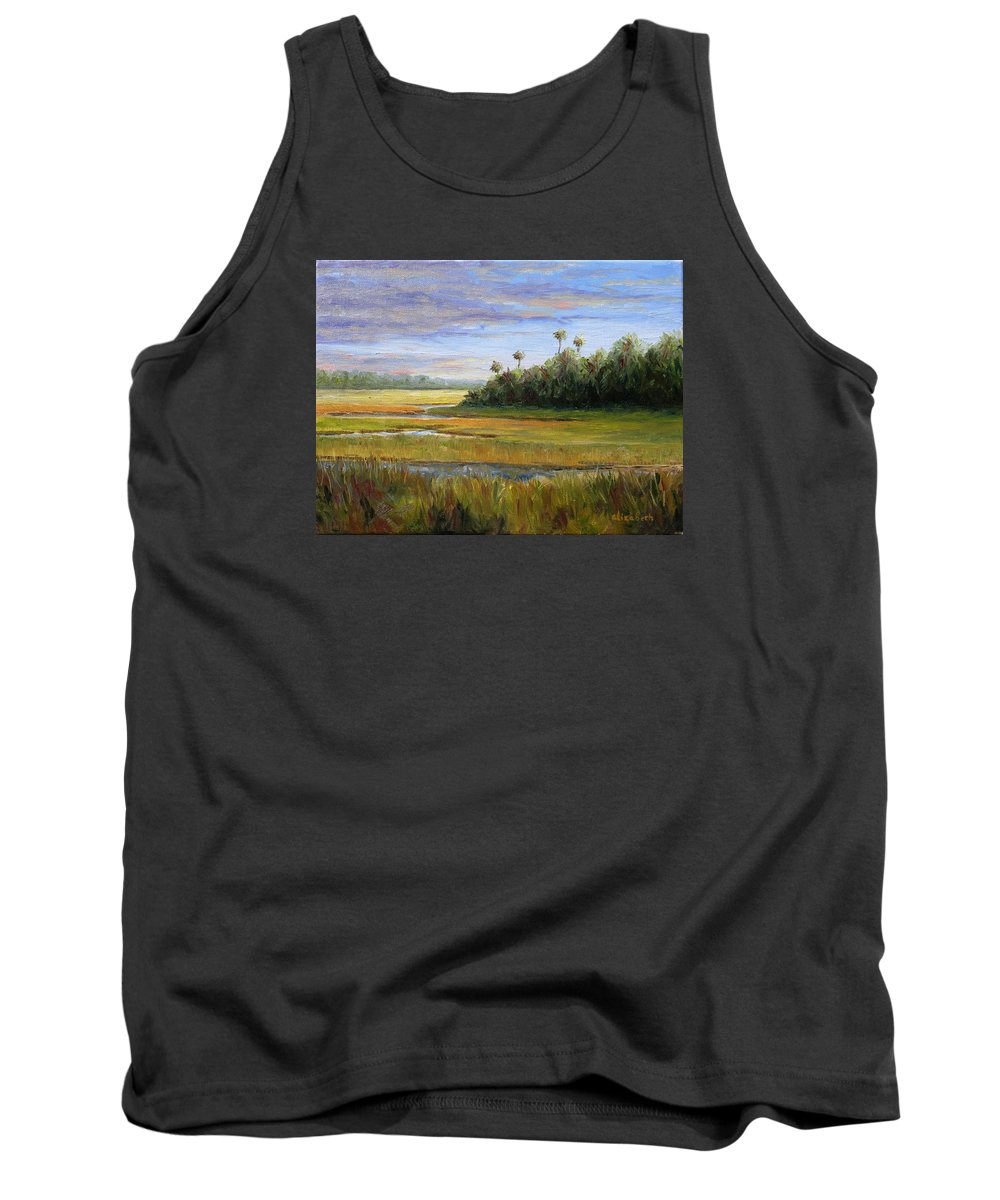 Marsh Tank Top featuring the painting Yellow Marsh by Beth Maddox