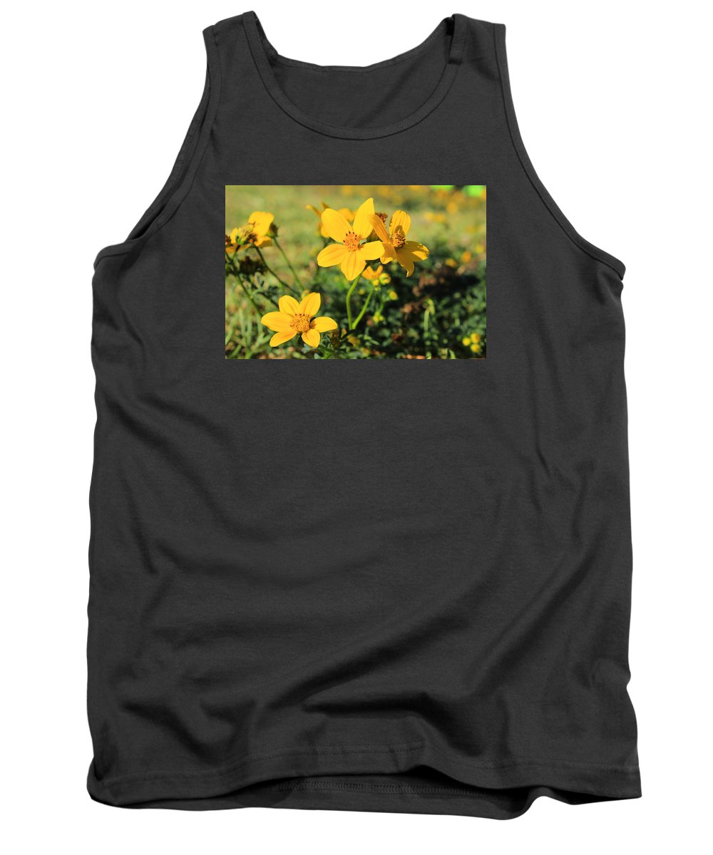 Wildflower Tank Top featuring the photograph Yellow Wildflowers In A Field by Robert Hamm