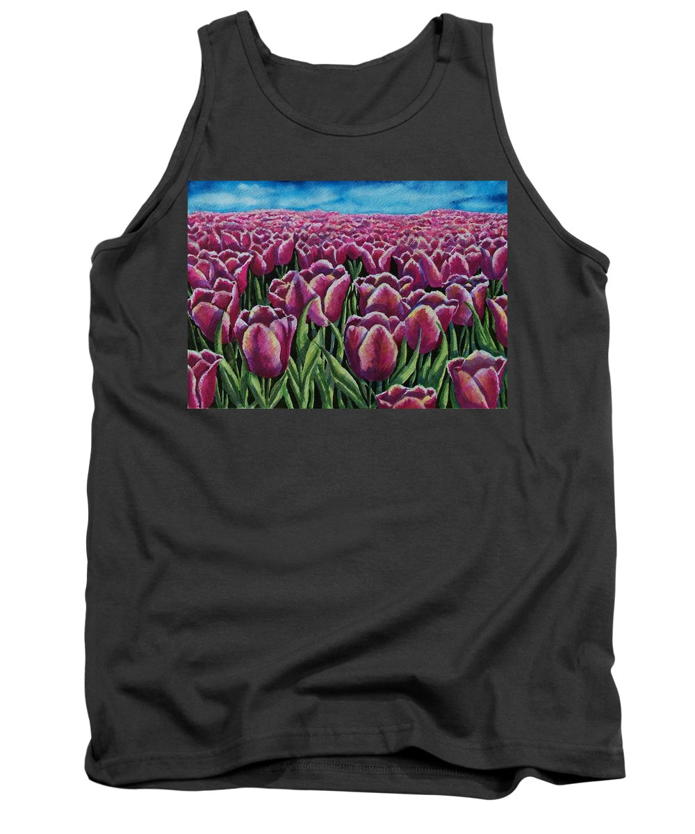Tulips Tank Top featuring the painting 1000 Tulpis by Conni Reinecke
