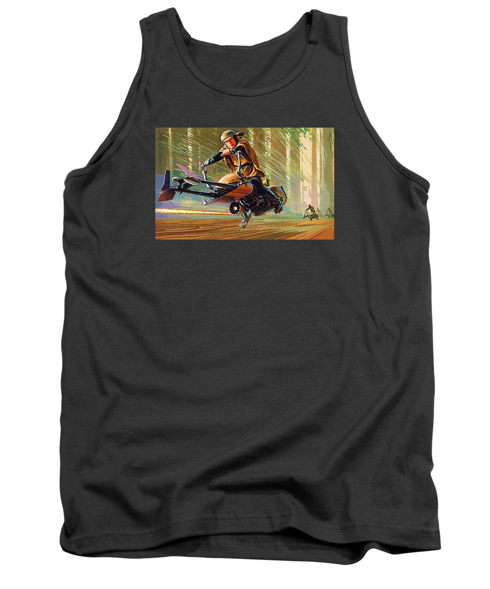 Star Wars Darth Vader Tank Top featuring the digital art Star Wars Episode 2 Poster by Larry Jones