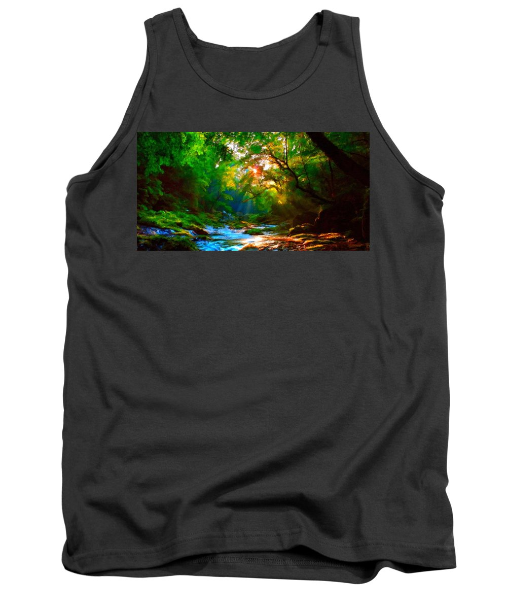 Nature Tank Top featuring the digital art C S Landscape by Usa Map
