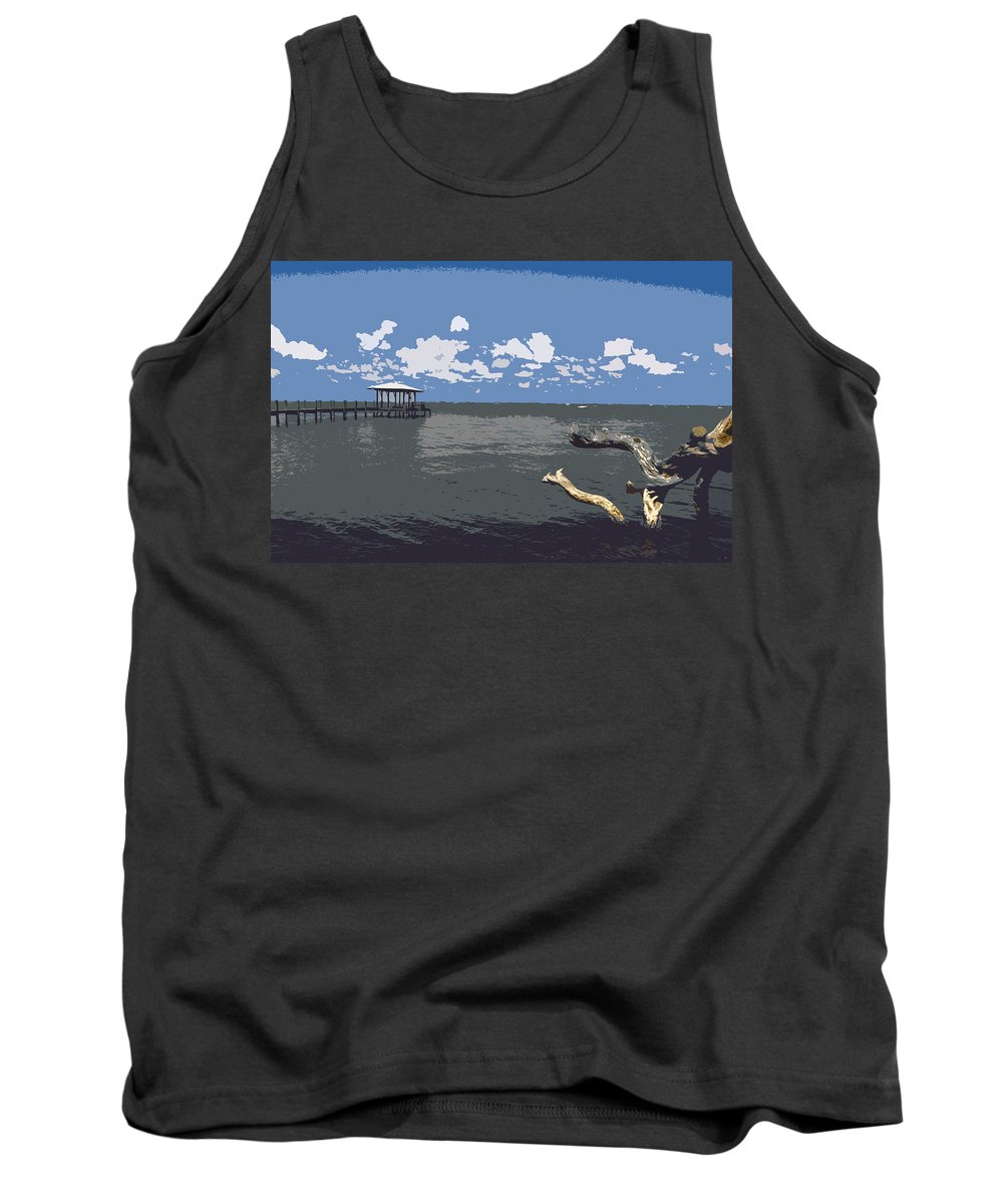 Lagoon Tank Top featuring the painting Indian River Lagoon by Allan Hughes