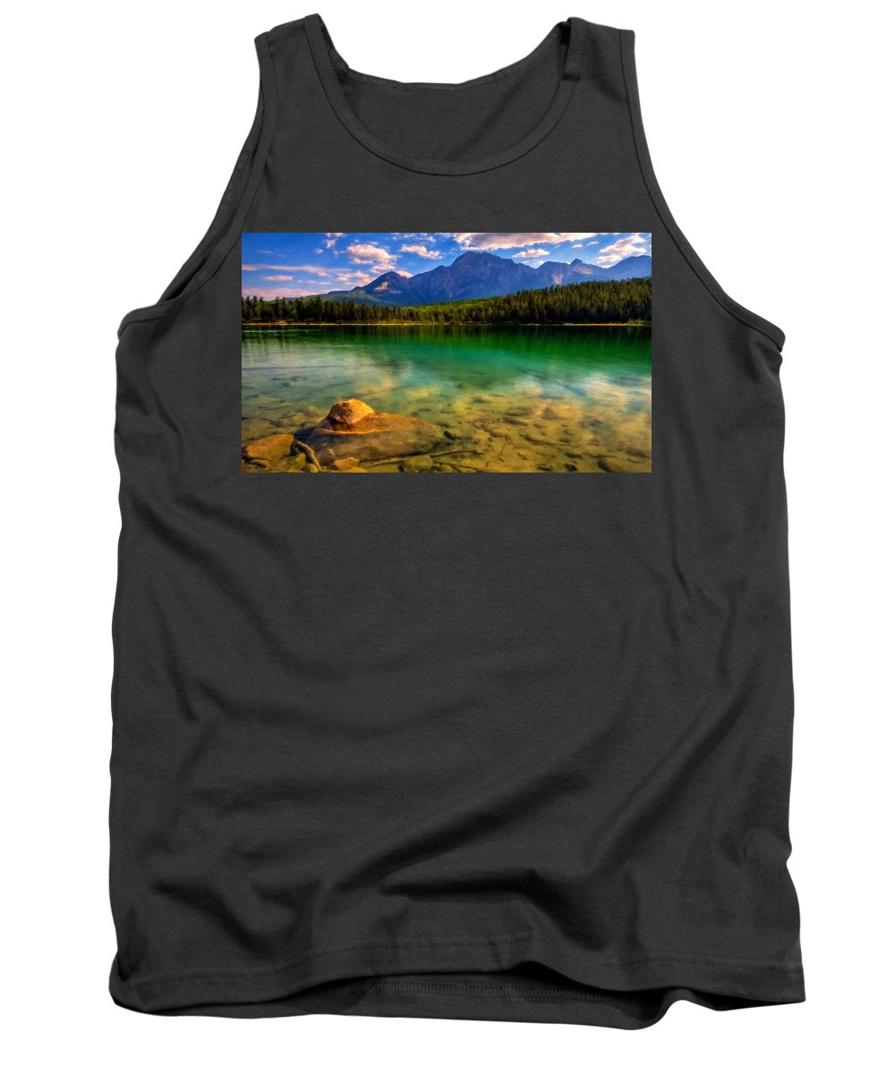 Path Tank Top featuring the digital art Painted Landscape by Usa Map