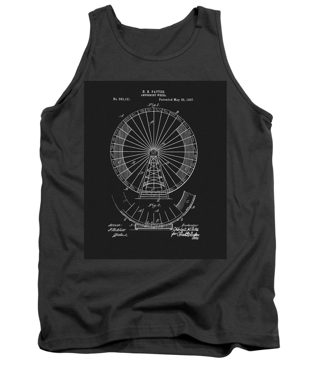 1897 Ferris Wheel Patent Tank Top featuring the mixed media 1897 Ferris Wheel Patent 1897 by Dan Sproul