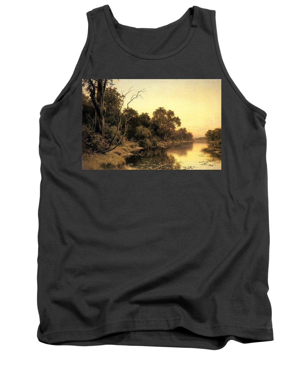 Tree Tank Top featuring the digital art Johnstone Henry James A Backwater Of The River Murray South Australia Henry James Johnstone by Eloisa Mannion