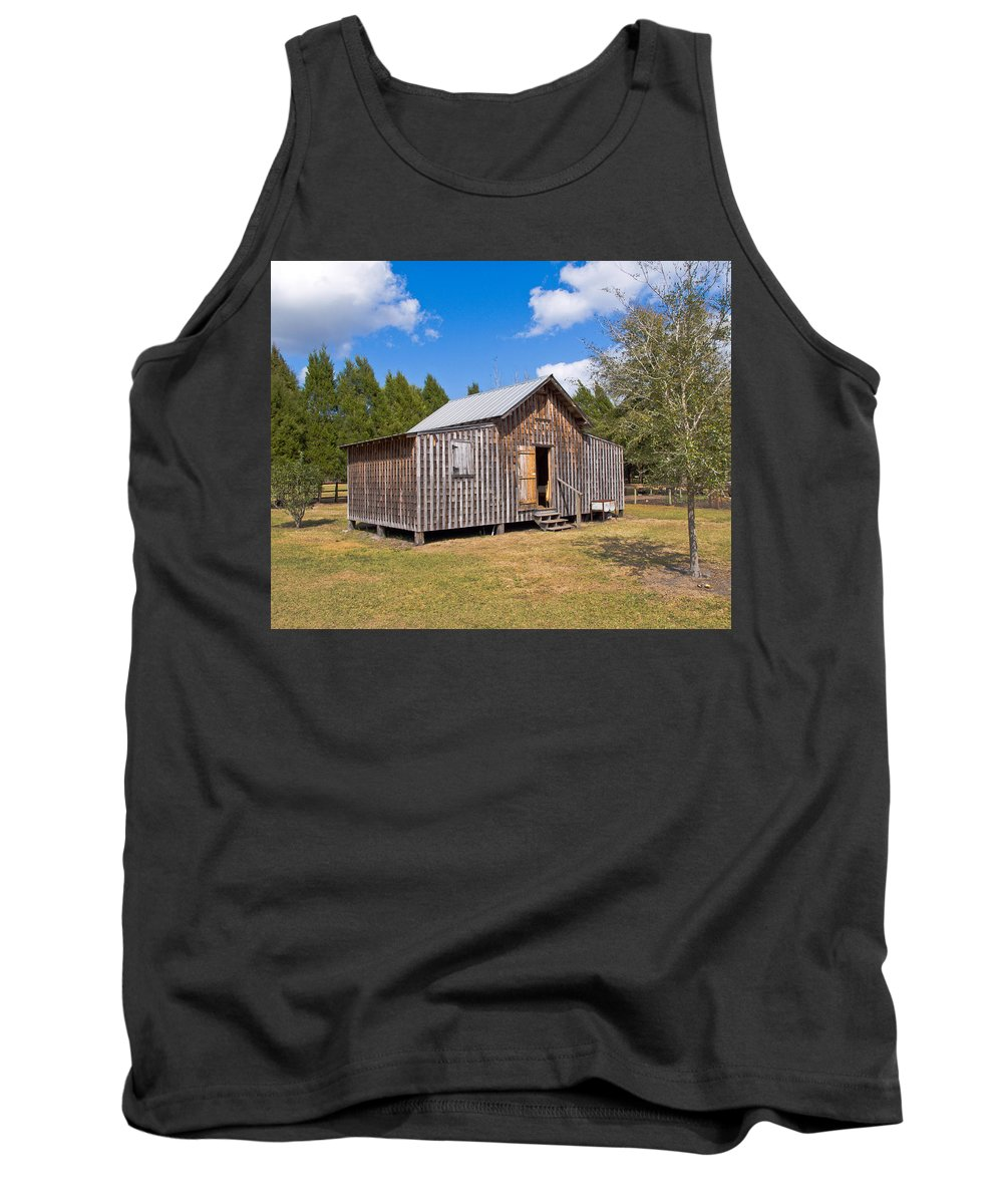 Cabin Tank Top featuring the photograph 1905 Florida Wheeler Board And Batten House by Allan Hughes