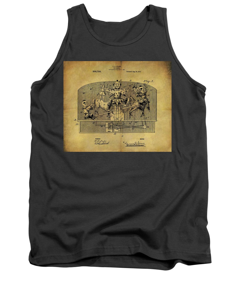 1910 Toy Circus Patent Tank Top featuring the drawing 1910 Toy Circus Patent by Dan Sproul