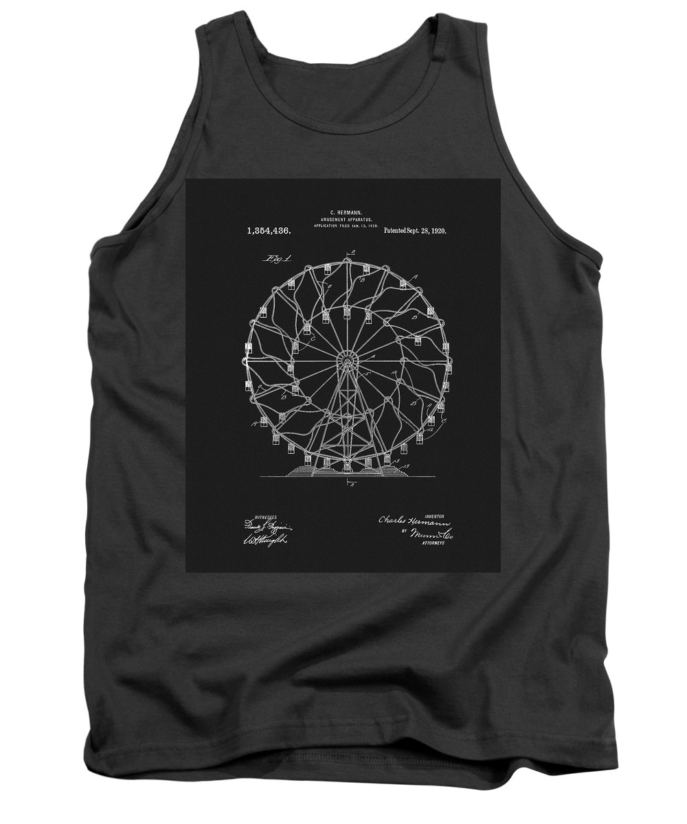1920 Ferris Wheel Patent Tank Top featuring the mixed media 1920 Ferris Wheel by Dan Sproul