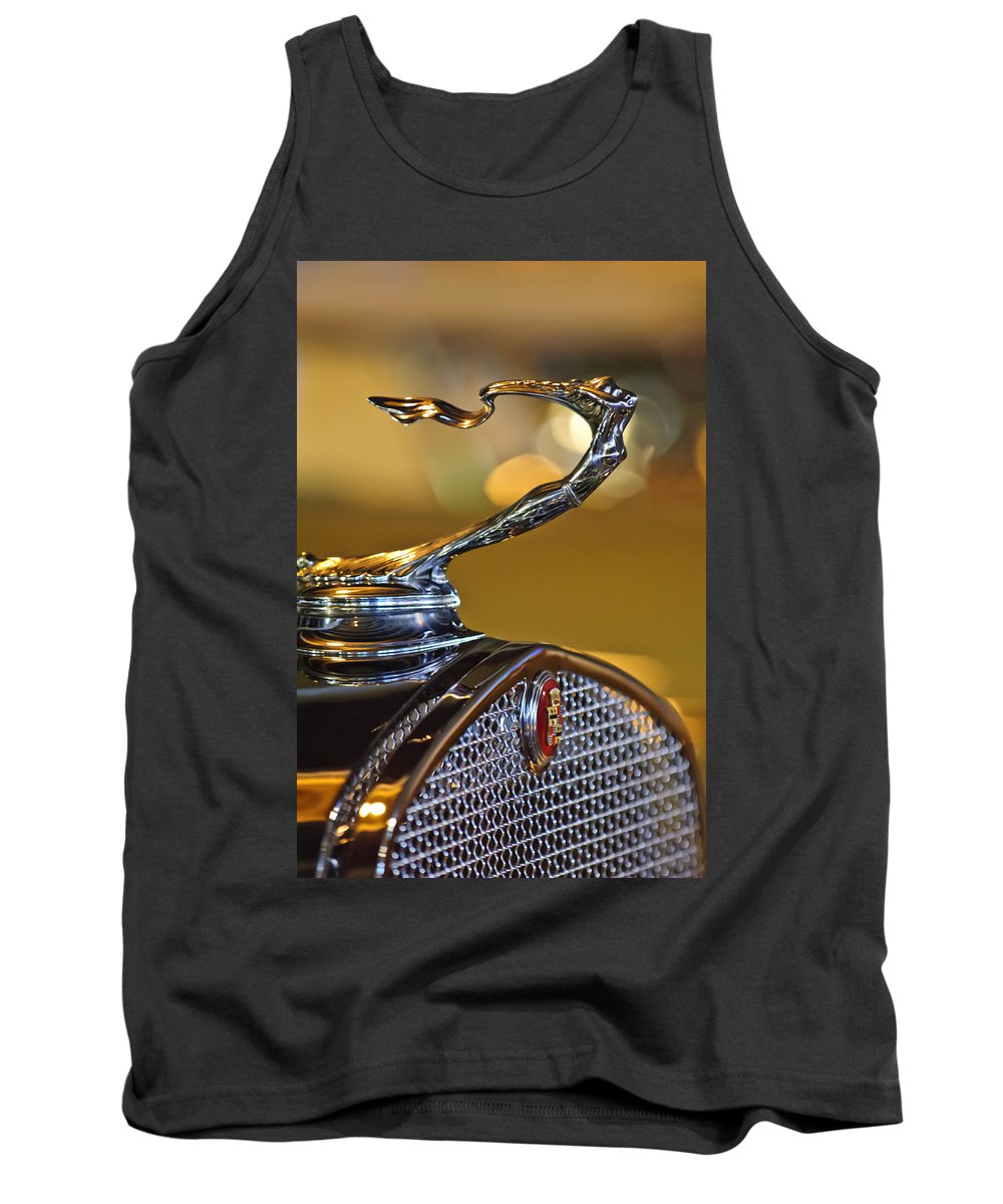 1930 Cadillac V-16 Roadster Tank Top featuring the photograph 1930 Cadillac Roadster Hood Ornament by Jill Reger