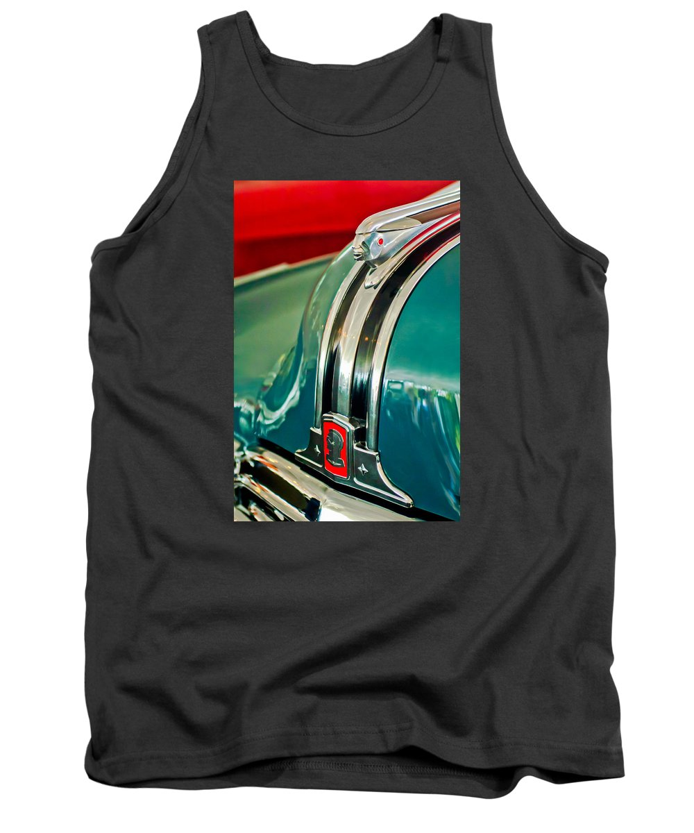 1948 Pontiac Hood Ornament Tank Top featuring the photograph 1948 Pontiac Streamliner Woody Wagon Hood Ornament by Jill Reger